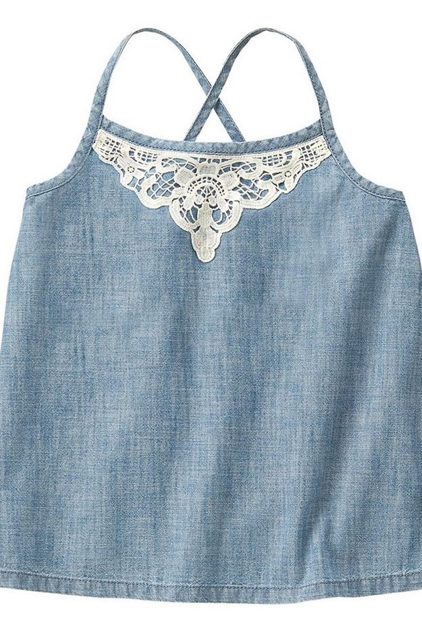 Girls Eyelet Chambray Tank, Chambray Blue