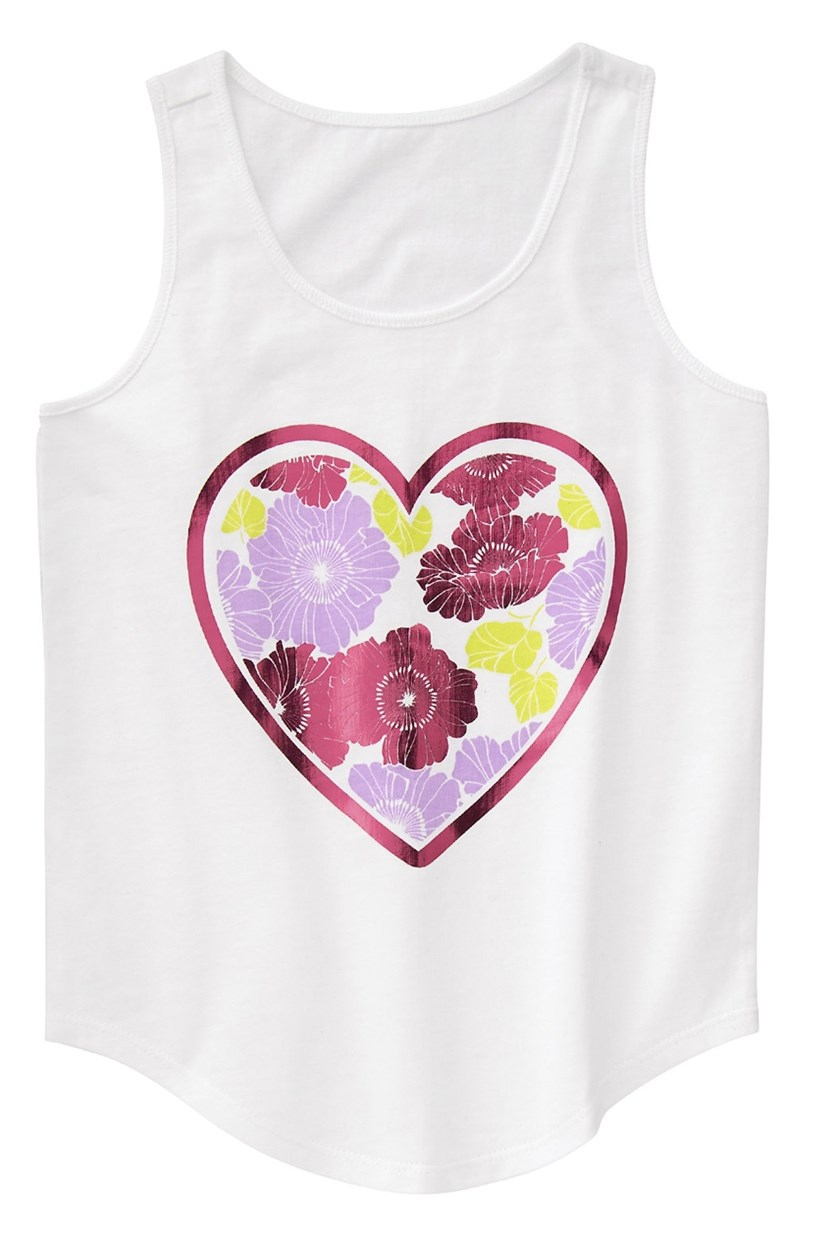 Kids Girl Floral Heart Tank, White