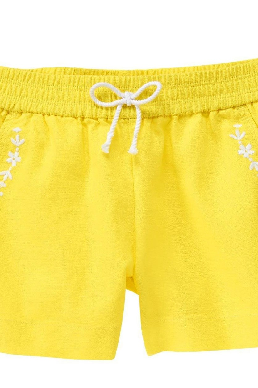 Floral Embroidered Shorts, Buttercup