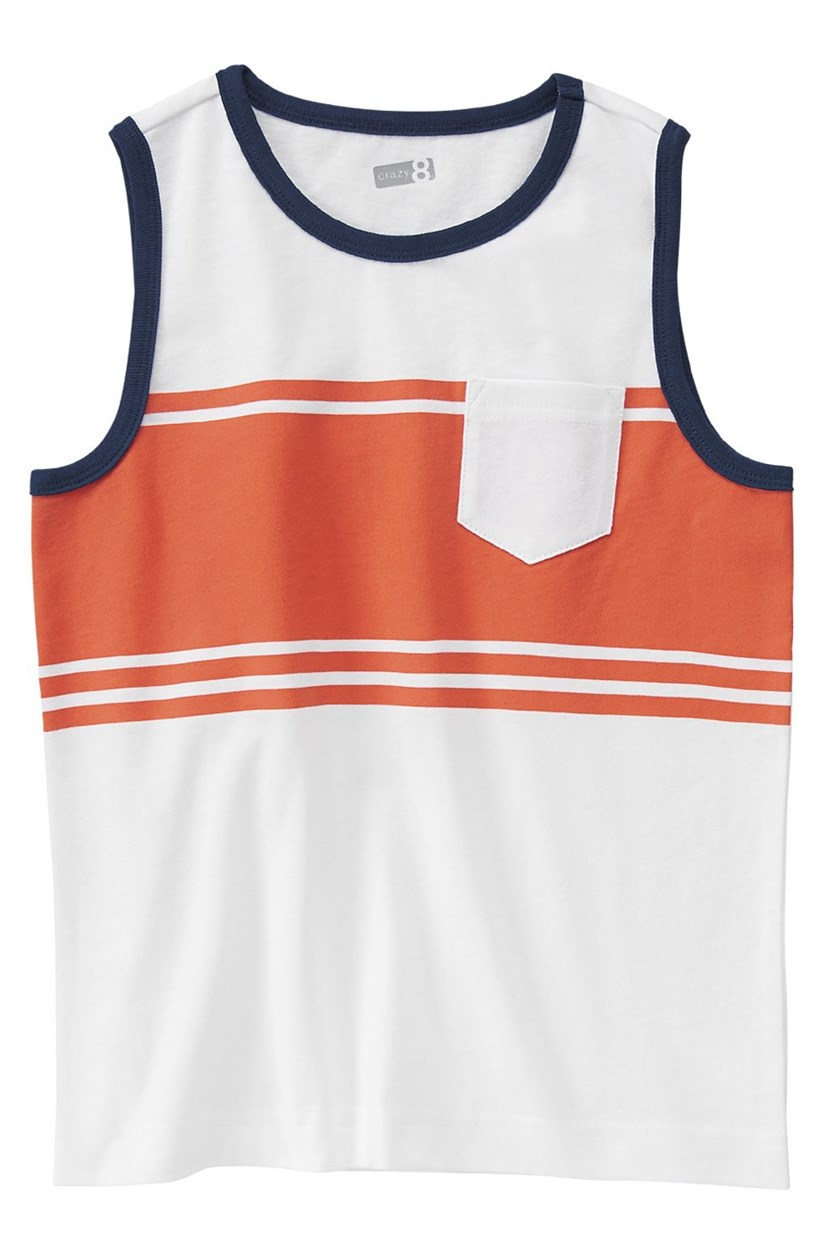 Boys Stripe Tank Top, White