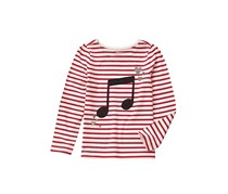 Crazy 8 Kids Girls Music Note Stripe Tee, Red/Ivory