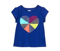 Crazy 8 Baby Girls Geo Heart Tee, Blue