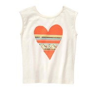 Crazy 8 Kids Girl's Geo Heart Tee, Off White