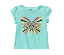 Crazy 8 Toddler Girl's Sparkle Butterfly Tee, Pacific Blue