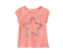 Crazy 8 Toddler Girl's Stripe Fringe Star Tee,  Neon Coral