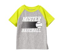 Crazy 8 Baby Boy Mister Baseball Tee, Grey/Green