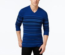 Mens Stripe V-Neck Sweater, Dark Side Combo
