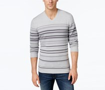 Mens Stripe V-Neck Sweater, Vanilla Combo