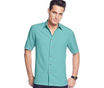 Men's Solid Texture Shirt, Caribbean Turquoise