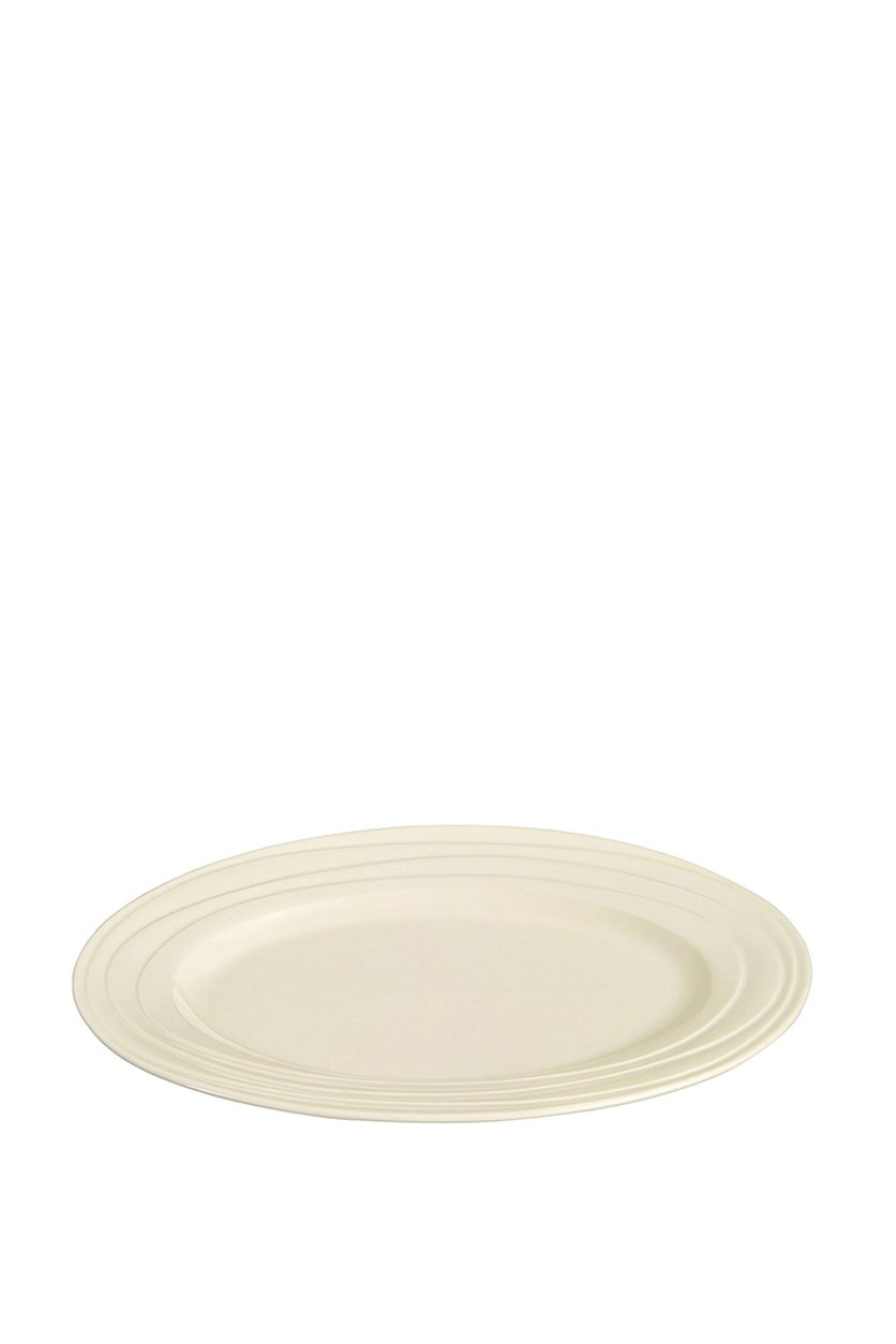 Waves Large Oval Dinner Plate, Off White