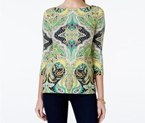 Charter Club Printed Bateau-neck Top, Bright Meadow