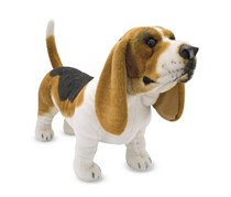 Melissa & Doug Giant Basset Hound Lifelike Stuffed Animal Dog, White/Brown/Black