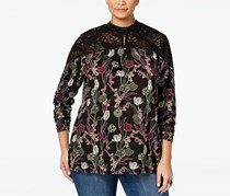 Style Co Plus Size Printed Lace-Trimmed Top, Black