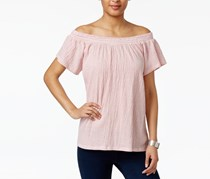 Style & Co Off-The-Shoulder Shirred Top, Liberty Stripe Red