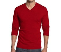 Alfani Men's Regular Fit V-Neck Sweater,Crimson Red