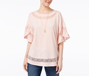 Style & Co Lace-Trim Tulip-Sleeve Top, Sea Lily