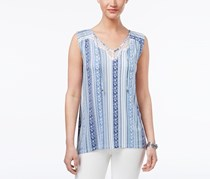 Style & Co Petite Printed Lace Top, Poolside Stripe