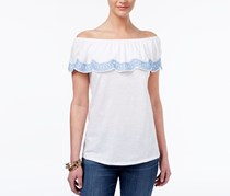 Style & Co Ruffled Off The Shoulder Top, White