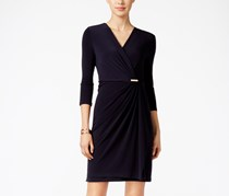 Petite Crossover Wrap Dress, Deepest Navy
