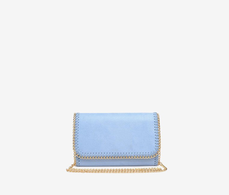 Felicity Vegan Clutch, Sky Blue
