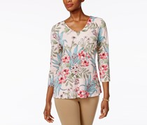 Charter Club Petite Floral-Print Split-Back Top, Cloud Combo