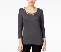 Karen Scott Twirl-Trim Scoop-Neck Top, Charcoal Heather