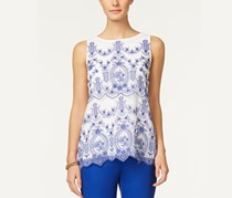 Charter Club Petite Embroidered Mesh Top, Bright White