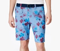 American Rag Men's Floral Print Flat Front Shorts, Blue