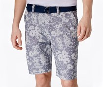 American Rag Floral-Print Belted Shorts, Blue Combo