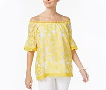 Charter Club Lantern-Sleeve Lace Top, Yellow