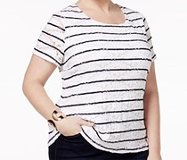Charter Club Women's Striped Pullover Top Lace, White/Navy