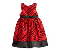 Marmellata Flocked Plaid Dress, Red