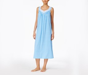 Charter Club Embroidered-Trim Nightgown, Lotus Dot