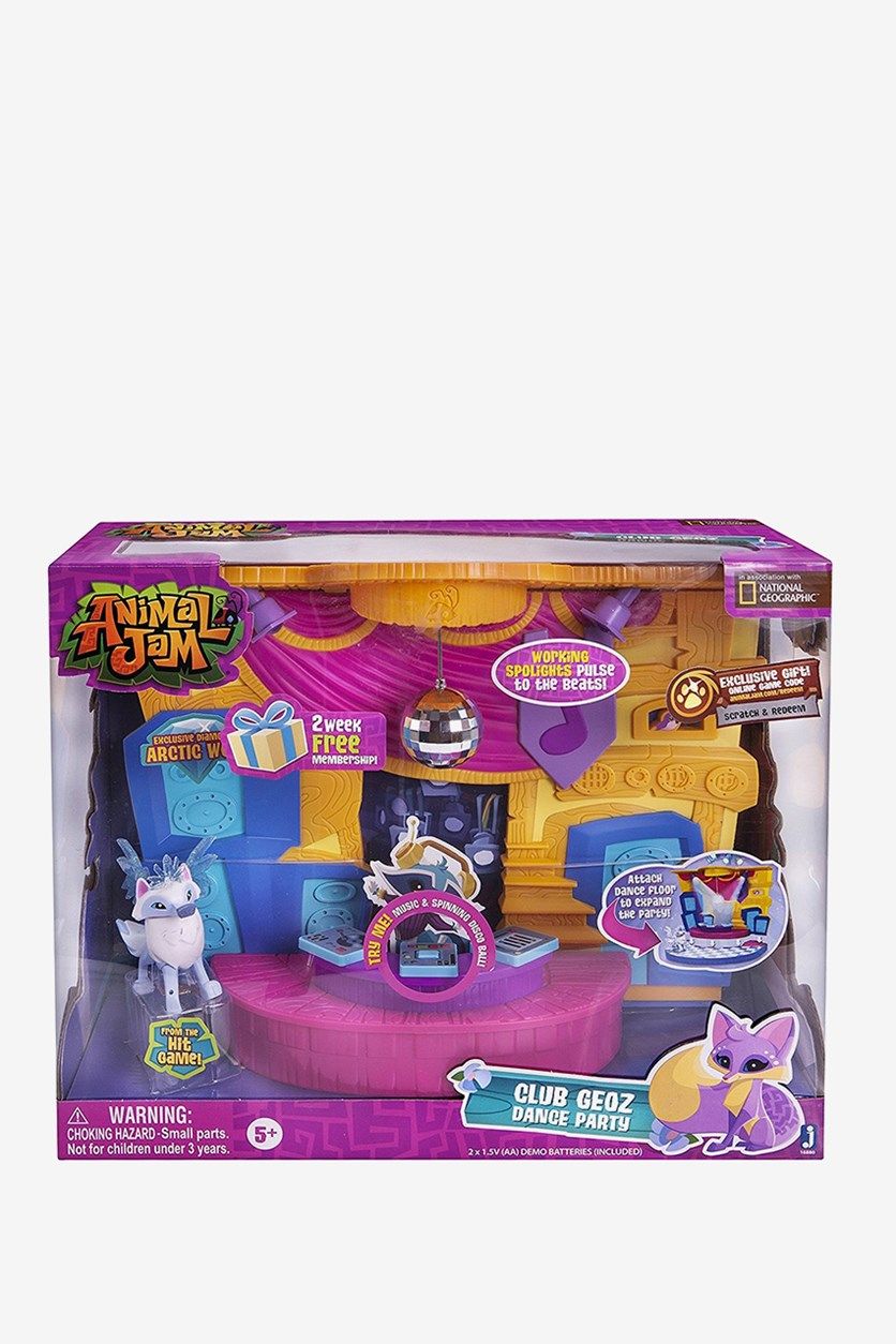 Animal Jam Club Geoz Playset with Exclusive Diamond Arctic Wolf, Pink/Blue