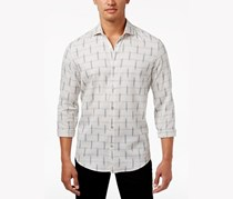 Alfani Men's Dash-Print Shirt, Washed White