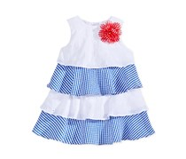 Marmellata Tiered Eyelet Seersucker Dress, White/Blue
