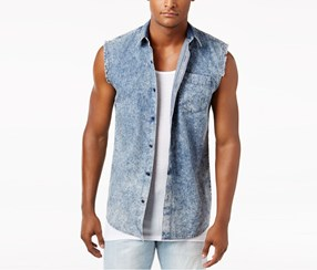 American Rag Men's Denim Sleeveless Shirt, Blue Combo