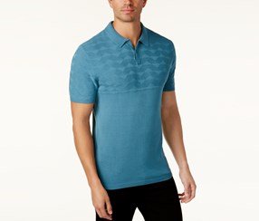 Alfani Men's Geo Colorblocked Polo, Salty Sea