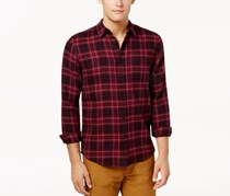 American Rag Cie  Mens Claus Plaid Flannel Shirt, Dark Cherry