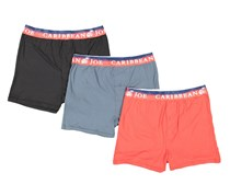 Caribbean Joe Men's 3-Pack Knit Boxers, Red/Black/Grey