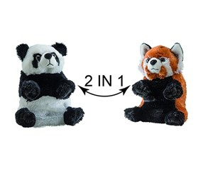 Switch A Rooz Panda Kung and Pao Plush, White/Black