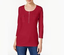 Karen Scott Pocketed Zip-Neck Top, New Red Amore
