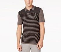 Men's Stripped Silk Blend Sweater Polo, Bark Heather