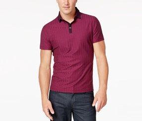 Alfani Men's Grid-Pattern Polo, Maroon
