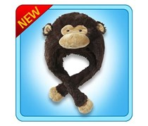 Silly Monkey Hat Plush Toy, Dark Brown