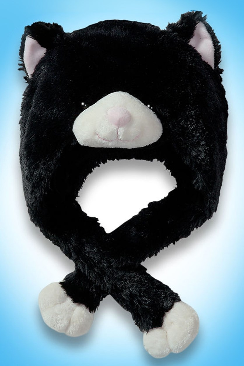 Black Cat Hat Plush Toy, Black/White