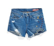 Blanknyc Girls' Embroidered Jean Shorts, Blue