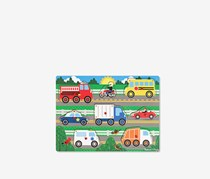 Melissa & Doug 8 Pieces Wooden Vehicles Peg Puzzle, Green Combo