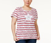Karen Scott Women's Plus Size Cotton Embellished Top, New Red