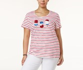 Women Plus Size Cotton Embellished Tee, New Red Amore